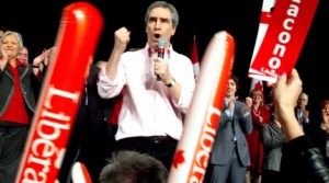 Liberal Party Leader Michael Ignatieff speaks to supporters at a rally while campaigning in Montreal, Sunday, March 27, 2011. (Ryan Remiorz / THE CANADIAN PRESS)