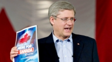 Prime Minister Stephen Harper unveils the Conservative party platform during a campaign event in Mississauga Ont., on Friday, April 8, 2011. (Sean Kilpatrick / THE CANADIAN PRESS)