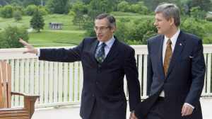 Prime Minister Stephen Harper walks with local MP Tony Clement before making an announcement in Huntsville, Ont., June 19, 2008. Huntsville hosted the 2010 G8 meetings at the Deerhurst resort. - Prime Minister Stephen Harper walks with local MP Tony Clement before making an announcement in Huntsville, Ont., June 19, 2008. Huntsville hosted the 2010 G8 meetings at the Deerhurst resort. | THE CANADIAN PRESS