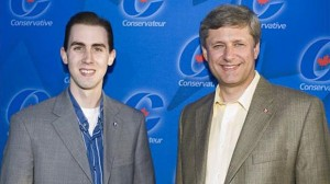 Michael Sona, left, is seen with Prime Minister Stephen Harper in this undated photo released by the Prime Minister's Office.